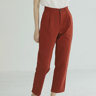 Avene style | red retro red and white two-color pockets casual trousers and a wild pants