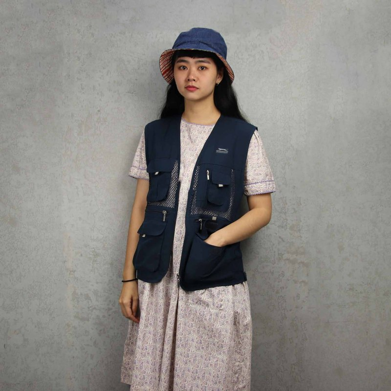 Tsubasa.Y ancient house 011 navy blue net fishing vest, fisherman mesh vest, both men and women can wear