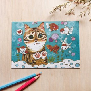 """Thirteen meow illustrator room"" together play ☉ cat ☉ illustration postcard"
