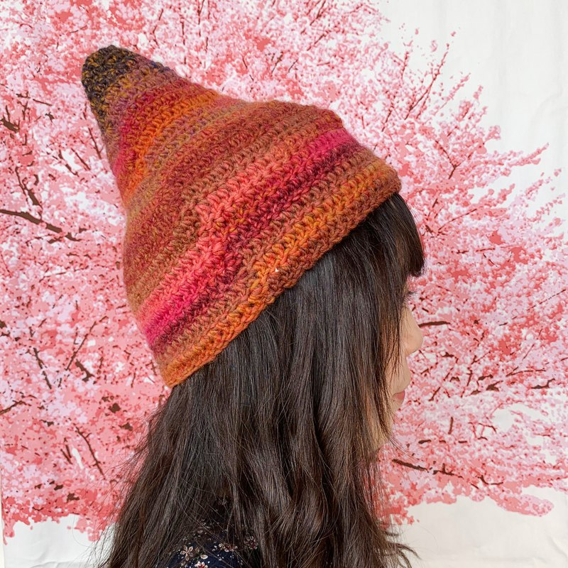 [Pure hand-knit wool hat | 012 volcano]