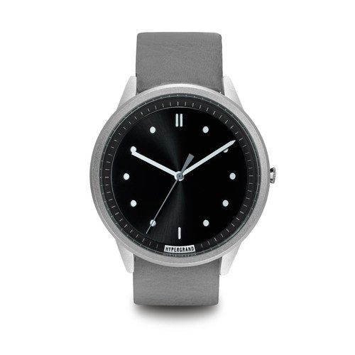 HYPERGRAND - 02 Basic Collection - Silver Black Dial Gray Leather Watch