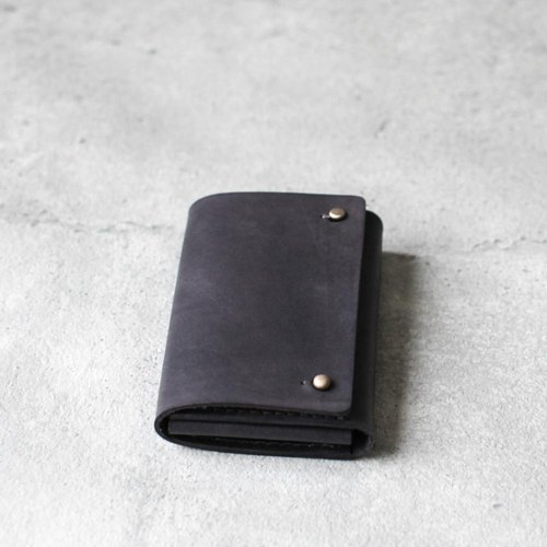 Iron grey leather card holder/wallet