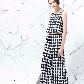 YUWEN black and white trousers