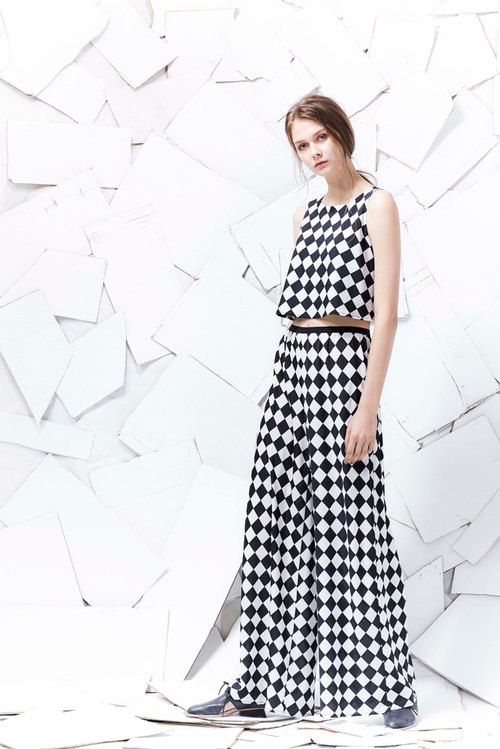 YUWEN black and white cell trousers