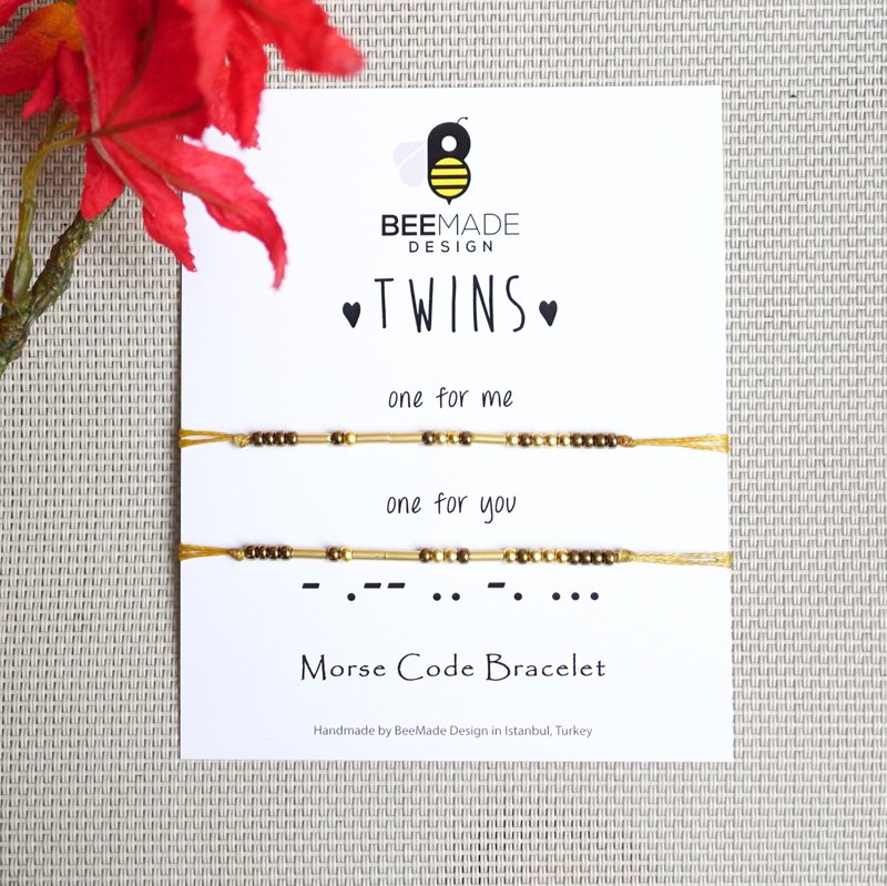 Twins Morse Code Bracelet Set of 2, Christmas Gift for you and your Sister