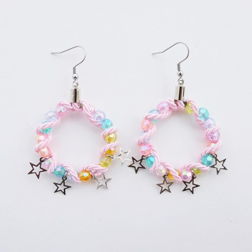 Pastel bead hoop earrings with pink rope and stars
