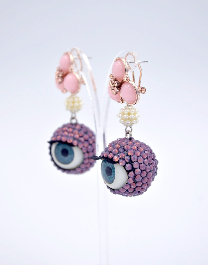 Purple opal stone Swarovski crystal ball beads earrings pair 20mm wink eye sleep swarovski crystal