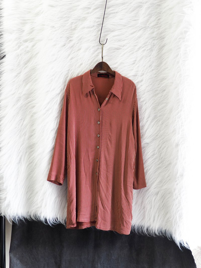 Independent brick red drape striped antique spinning long shirt shirt vintage shirt oversize