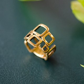 Simple geometric square wide version ring pure copper jewelry