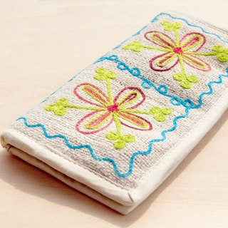 Valentine Natural cotton knit sense wallet / long wallet / national wind purse / wallet - forest wind hand-embroidered flowers