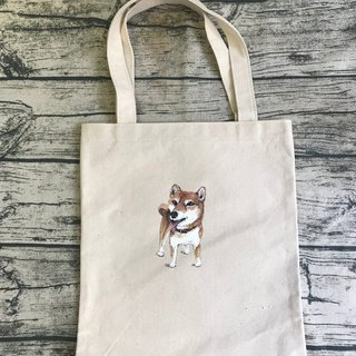 |Hand-painted canvas bag|Shiba Inu