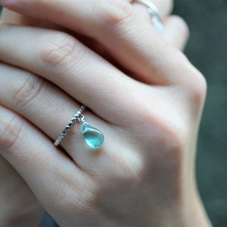 Blue Apatite 925 Silver Adjustable Ring