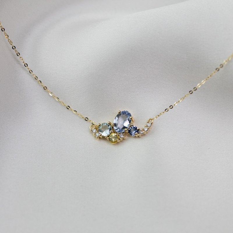 18k Solid Gold Sky Blue Sapphire and Diamond Cluster Necklace - P036B