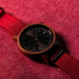 PRIME 1.1.1 Walnut Wood Wooden Watch - Burgundy 42mm