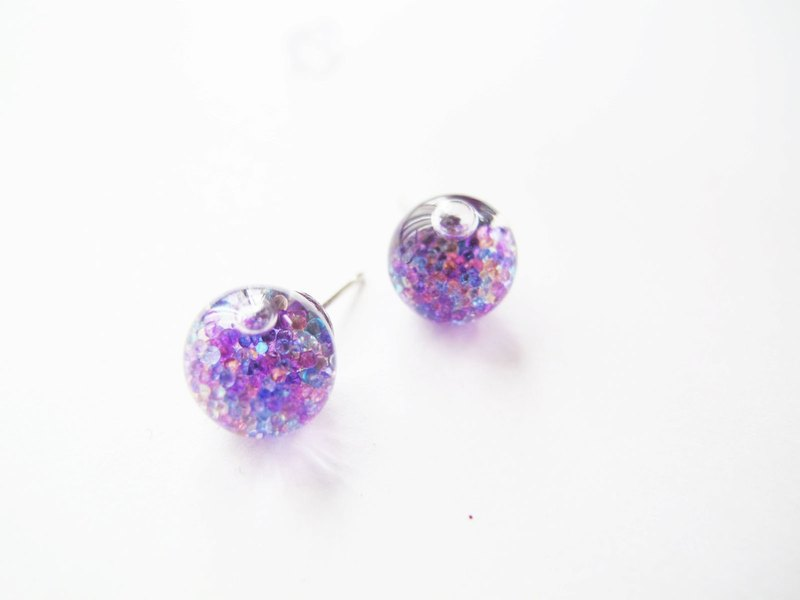* Rosy Garden * Little glass beads with water inside glass ball earrings