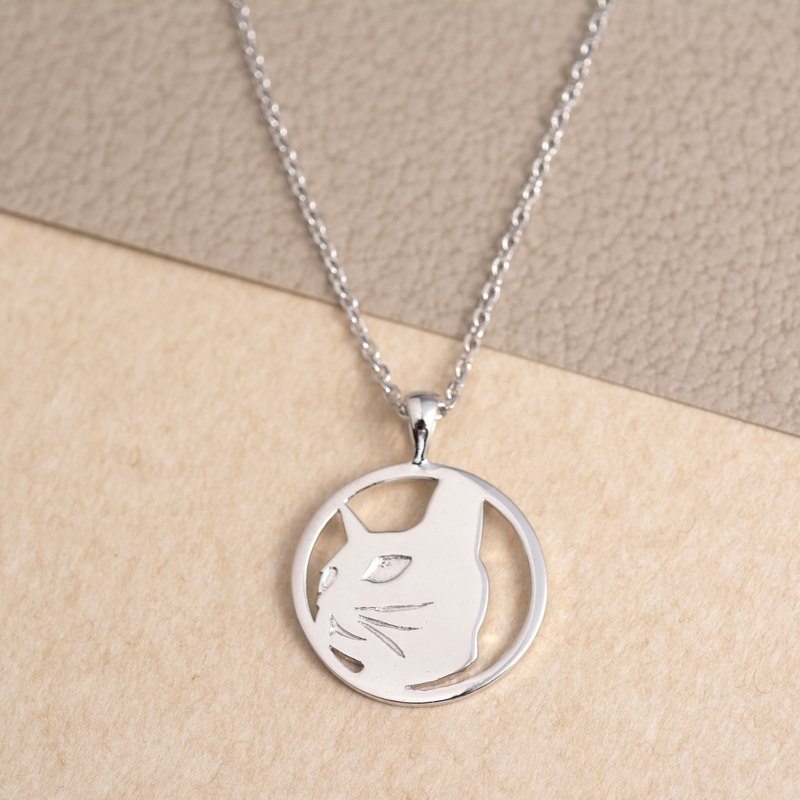 Pet Portrait Silver Necklace - Cat Art