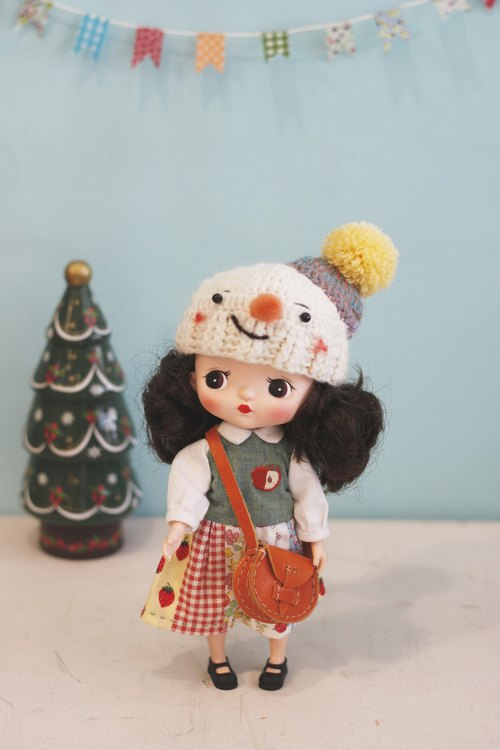 Holala size hand-woven Japanese wool line Christmas snowman baby hat