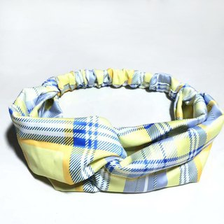 Yellow plaid / hand-made elastic hair band