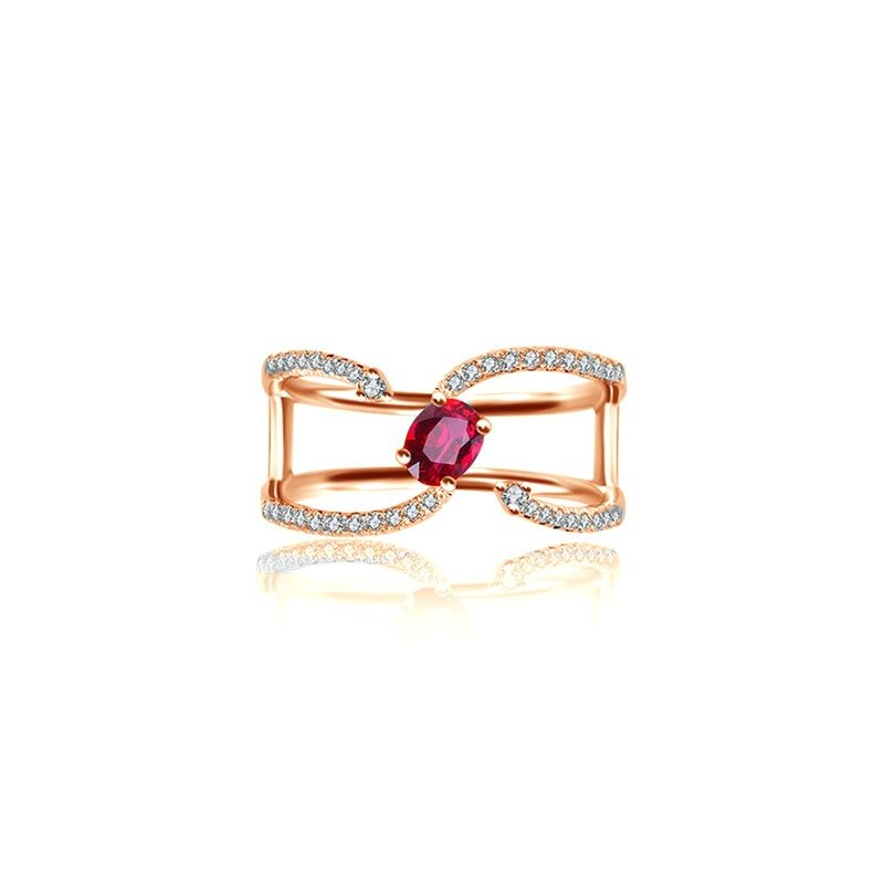 Single Ruby Connected Diamond Ring