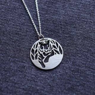 Ni.kou sterling silver jungle tiger necklace (giving jungle tiger postcard)