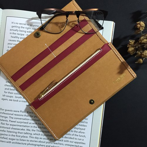 washable kraft paper long wallet  red/tan