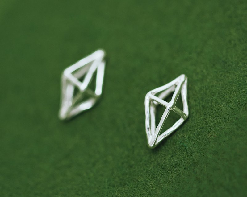 Jungle Gym silver earrings - geometric earrings - allergy free - high purity