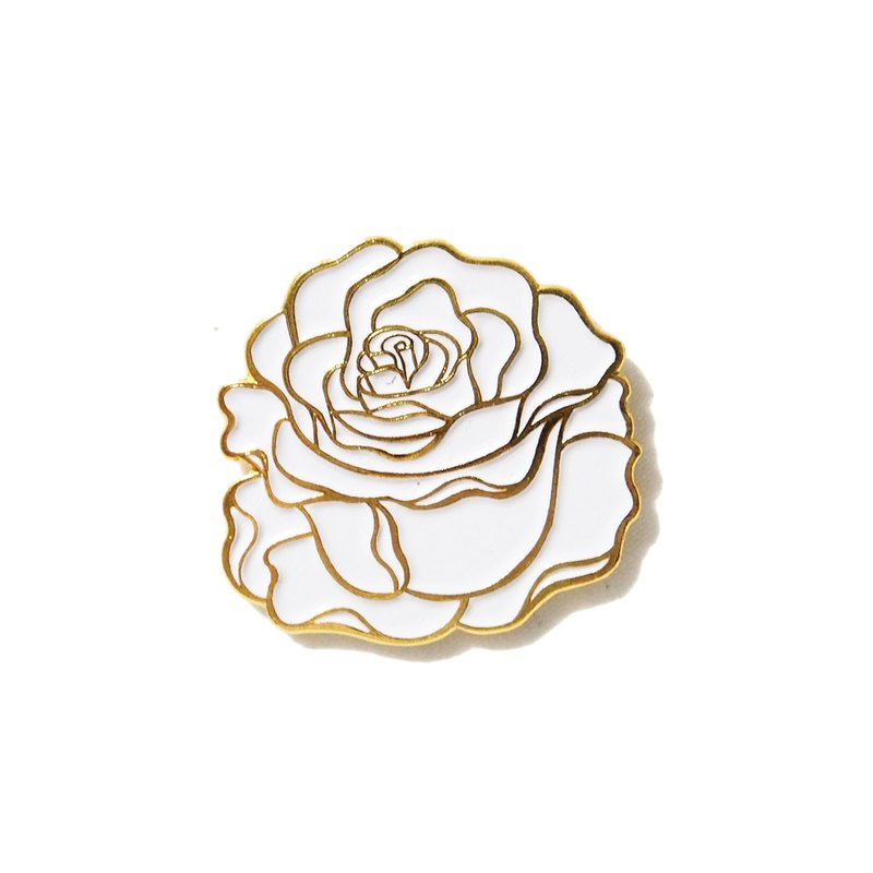 White Rose Gold Border Pin