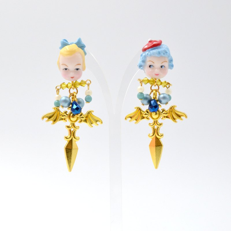 Alice Cross Sword Crystal Earrings