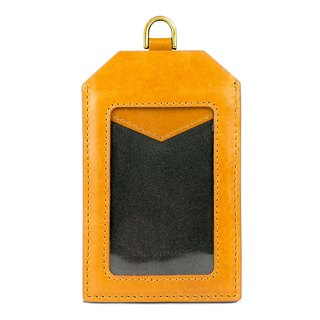 Alto Leather ID Card Set Badge Holder - Caramel Brown [Additional Customized Letters]