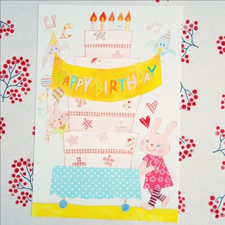 Postcard birthday card birthday cake