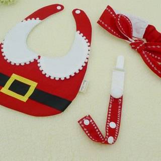 Santa Claus gift box group (modeling bib + rabbit earmuffs + multi-functional pacifier chain / toy chain) Mi moon gift box age newborn Christmas gift