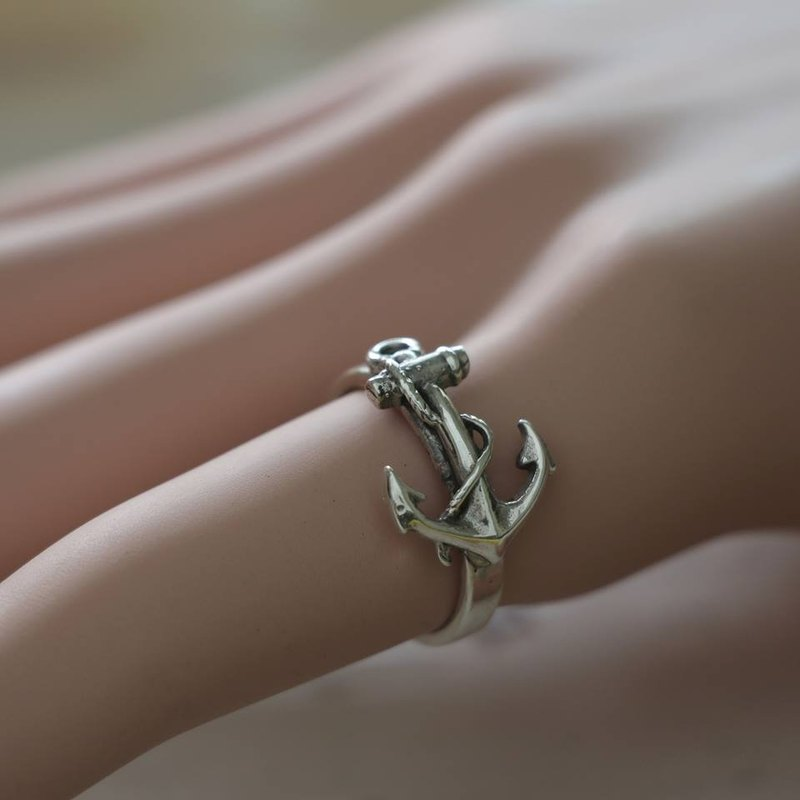 anchor Rings Skull silver Vintage Navy world war sailor 925 Gift for her jewelry