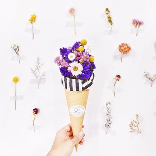 WANYI purple cone ice cream bouquet dried flower / Valentine's Day / gift / not withered flower / gift / desk decoration / room layout / marriage / graduation / wedding small objects