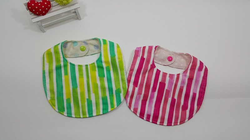 Painting line double yarn 3 layer saliva towel bib (bright green / pink)