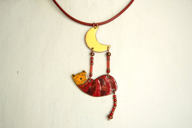 Cat necklace, Enamel necklace, Red striped cat, Cat jewelry, Cat and moon, Kitty