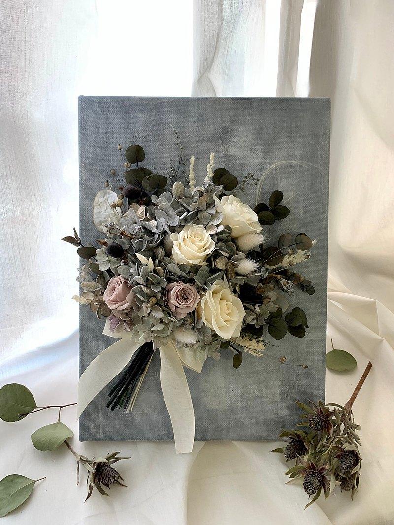 永生花 油畫感 永生玫瑰 壁掛花束  灰階色調  新居落成禮物 交換禮物