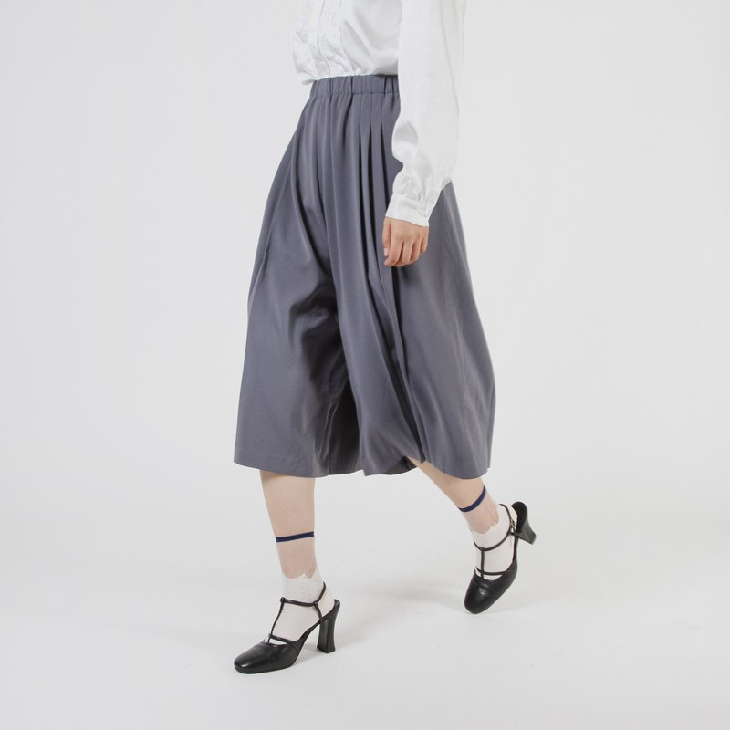 [Egg plant ancient] star sand solid color vintage wide leg trousers