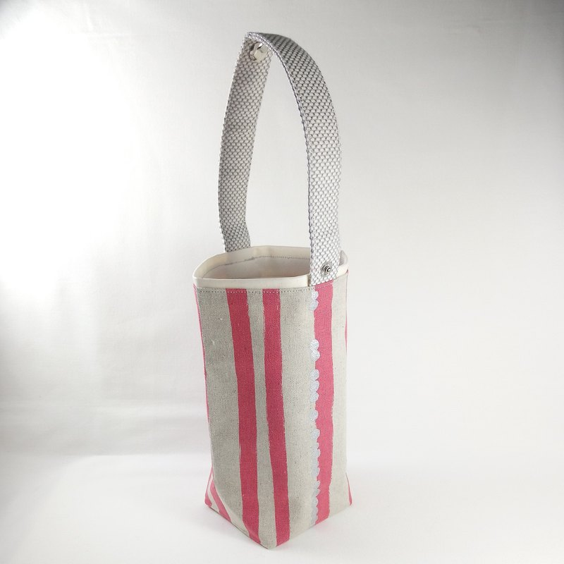 [BD/Drink bag] Irregular stripes. Peach red