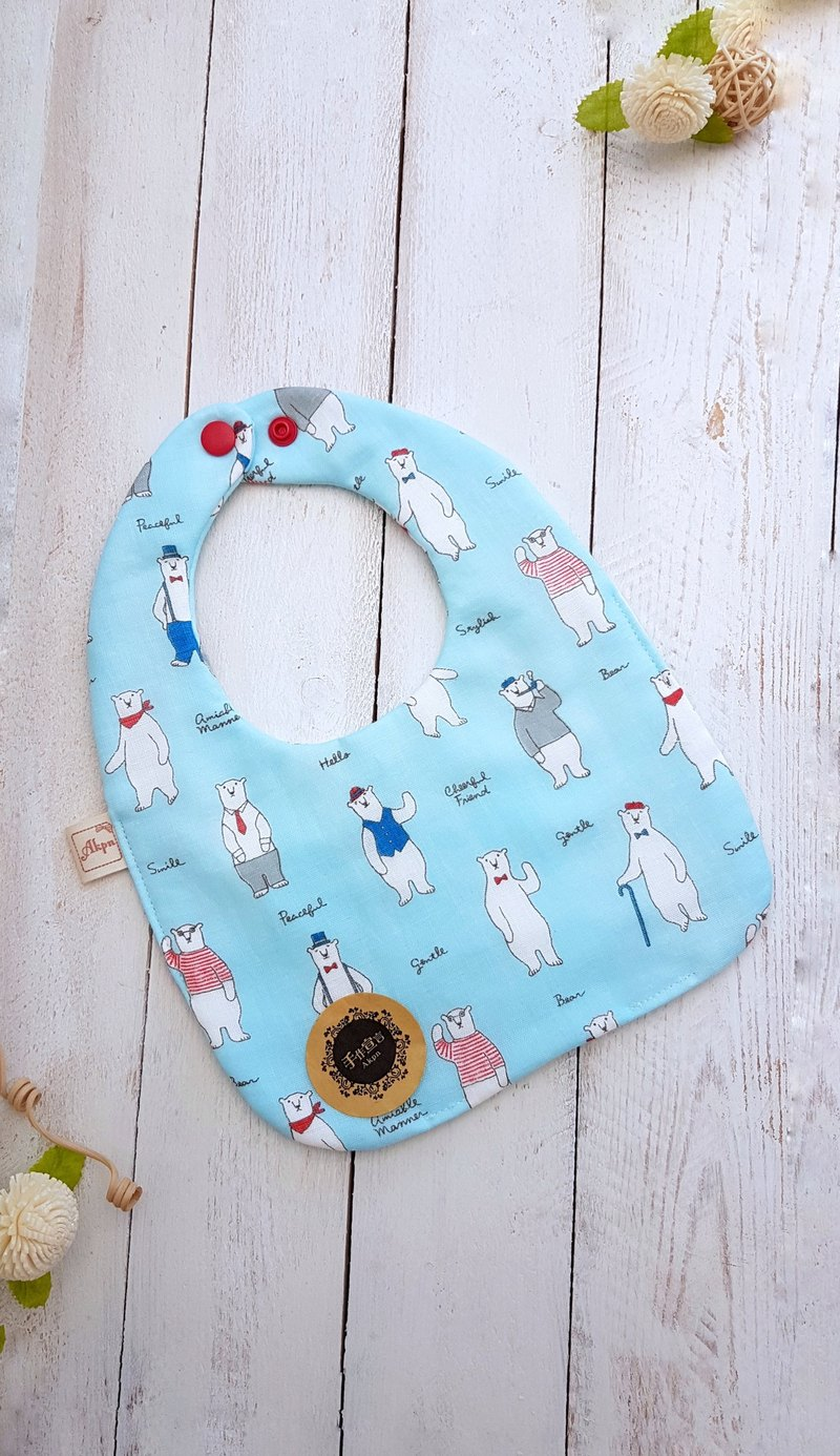 Gentleman bear - light blue - octopus 100%cotton double-sided bib saliva towel