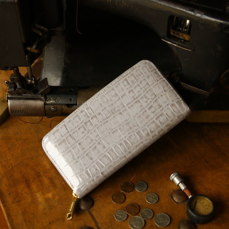 日本製造 牛皮 錢包  灰色 made in JAPAN handmade leather wallet