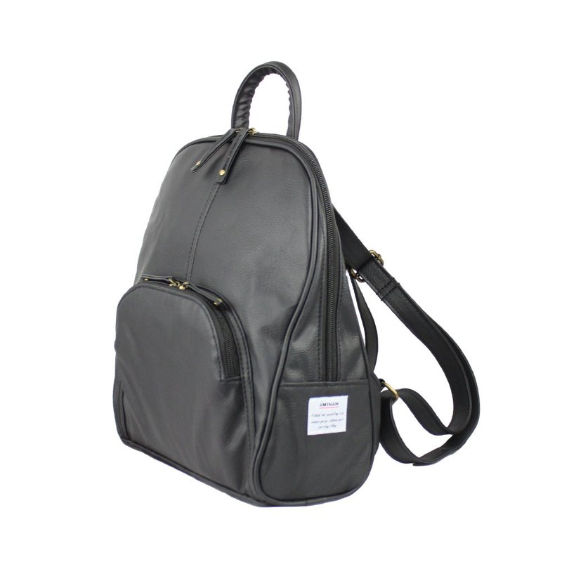 AMINAH-Black elegant back backpack [am-0299]