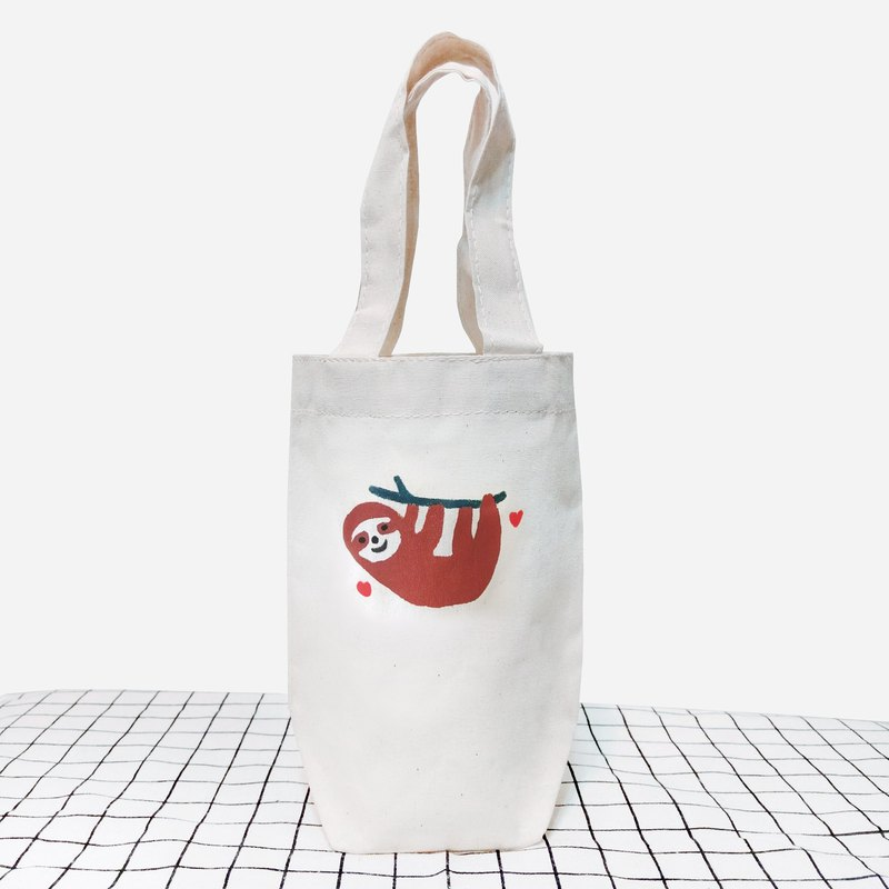 Sloth imprinting hand-drawn beverage bag