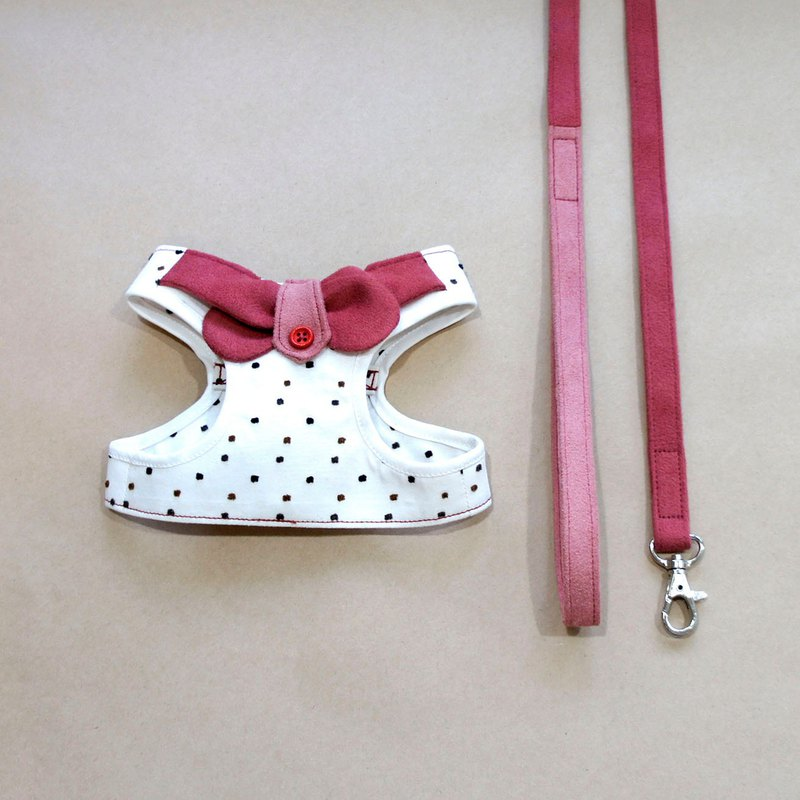 Can be customized. College Wind Cross Collar - Red Walking Combination <Breast Strap Drawstring>
