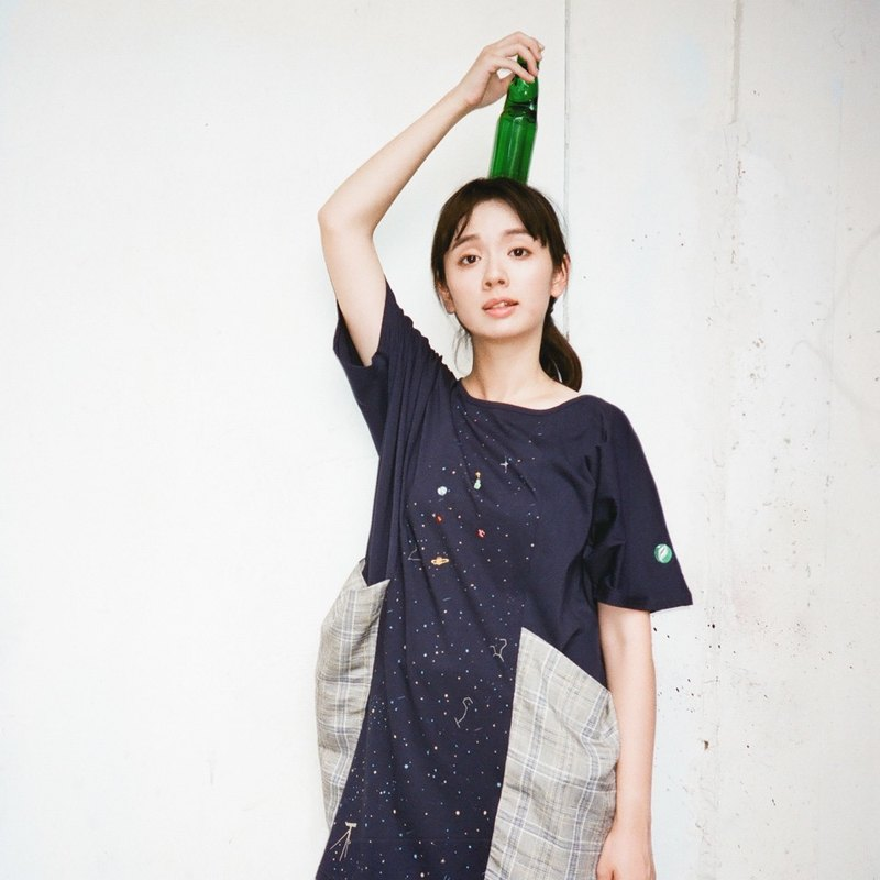 Urb / marbles starry sky / double pocket dress