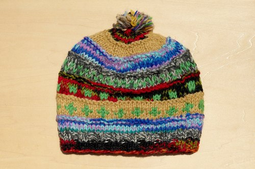 Christmas gift limited to a hand-woven pure wool hat / knitted hair hat / bristles hand knit hair hat / wool cap (made in nepal) - mixed color gradient layer of national stripes
