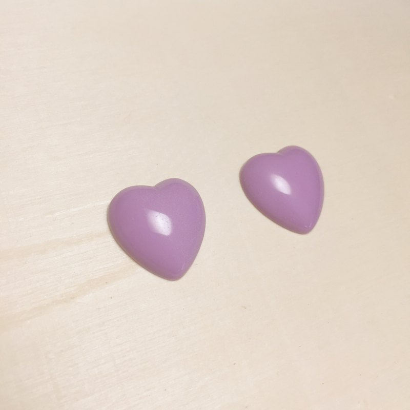 Vintage Purple Love Earrings Ear Clips