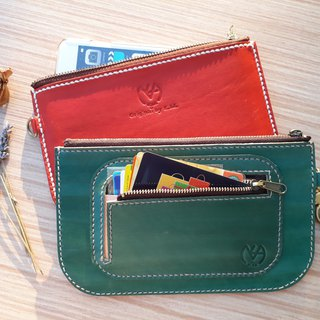 Zipper storage bag - card section (with leather wristband) │ vegetable tanned leather hand dyed color can be branded (10 words)