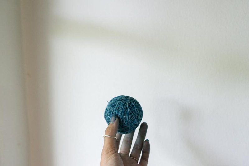 Hemp Ball | indigo dye hemp yarn | wrapping