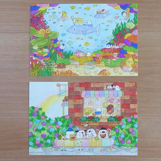 postcard set Let's play with fish Mu onsen holiday