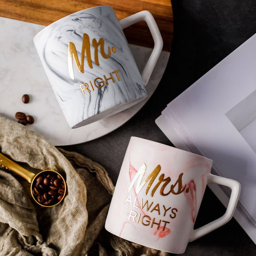 Fashion Ms. Mug Marble Marble Ceramic Cup Simple Creative Couple Cup Breakfast Cup